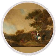 Landscape With Hunting Party Round Beach Towel
