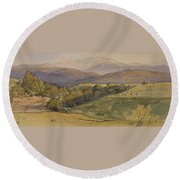 landscape with Lochnagar in the distance Round Beach Towel