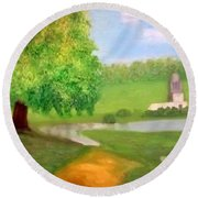 Landscape With Luxuriant Tree And Folly Round Beach Towel