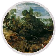 Landscape With Milkmaids And Cows Round Beach Towel