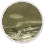 Landscape With Moon Round Beach Towel