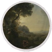 Landscape With Narcissus And Echo Round Beach Towel