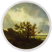 Landscape With Oaktree Round Beach Towel