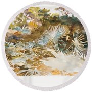 Landscape With Palmettos Round Beach Towel