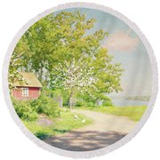 Landscape With Pickling Hens Round Beach Towel