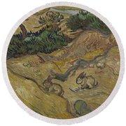 Landscape With Rabbits Saint Remy De Provence December 1889 Vincent Van Gogh 1853  1890 Round Beach Towel
