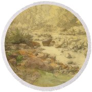 Landscape With Rocks In A River Round Beach Towel