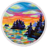 Landscape With Saucers Round Beach Towel