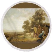 Landscape With Shepherds And Shepherdesses Near A Well Round Beach Towel