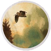 Landscape With Snipe Round Beach Towel