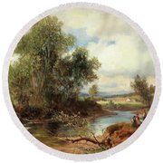 Landscape With Stream And Decorative Figures Round Beach Towel