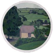 Landscape With Thatched Barn Round Beach Towel