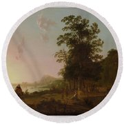 Landscape With The Flight Into Egypt Round Beach Towel