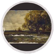 Landscape With Tree  Round Beach Towel