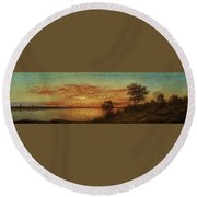 Landscape With Trees At The Rivers Round Beach Towel