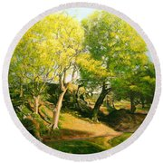 Landscape With Trees In Wales Round Beach Towel