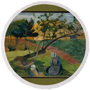 Landscape With Two Breton Women Round Beach Towel