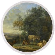 Landscape With Two Donkeys, Goats And Pigs Round Beach Towel