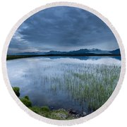 Landscape With Water Grass Round Beach Towel