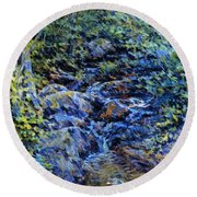 Landscape With Waterfall 1890 Round Beach Towel