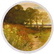 Landscape With Wild Flowers And Rabbits Round Beach Towel