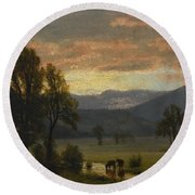 Landscape_with_cattle Round Beach Towel