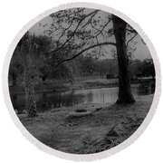 Langan Park In Black And White Round Beach Towel