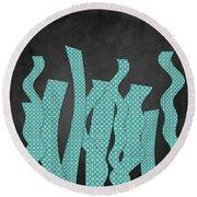 Languettes 02 - Aqua Round Beach Towel
