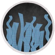 Languettes 02 - Blue Round Beach Towel