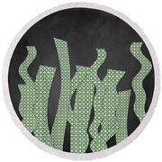 Languettes 02 - Lime Round Beach Towel