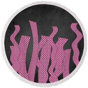 Languettes 02 - Pink Round Beach Towel