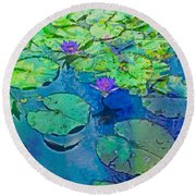 Languid Lagoon Round Beach Towel
