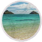 Lanikai Beach 4 Pano - Oahu Hawaii Round Beach Towel