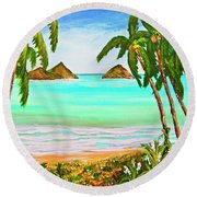 Lanikai Beach Oahu Hawaii #358 Round Beach Towel