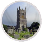 Lansallos Church Cornwall Round Beach Towel