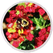 Lantanas And The Bee Round Beach Towel