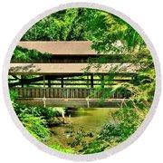 Lanterman's Mill Covered Bridge Round Beach Towel