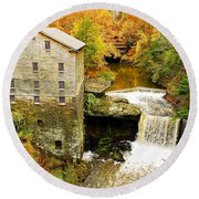 Lantermans Mill In Fall Round Beach Towel
