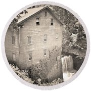 Lanterman's Mill In Mill Creek Park Black And White Round Beach Towel