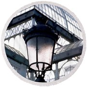 Lantern In Front Of The Crystal Palace, Madrid Round Beach Towel