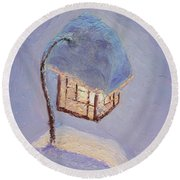 Lantern Light On A Snowy Evening Round Beach Towel