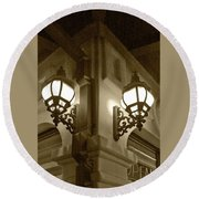 Lanterns - Night In The City - In Sepia Round Beach Towel