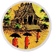 Procession To Temple, Lao Collection Round Beach Towel