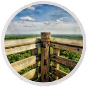 Lapham Peak Wisconsin - View From Wooden Observation Tower Round Beach Towel