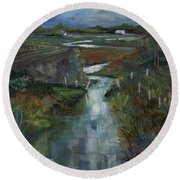 Laramie River Valley  Round Beach Towel