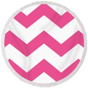 Large Chevron With Border In French Pink Round Beach Towel