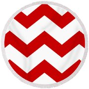 Large Chevron With Border In Red Round Beach Towel
