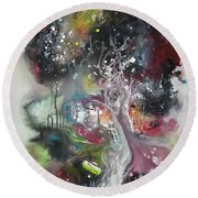 Large Color Fever Abstract25-original Abstract Painting Round Beach Towel