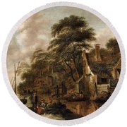 Large Farmstead On The Bank Of A River Round Beach Towel