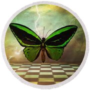 Large Green Wings Round Beach Towel